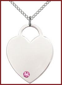 "1"" Sterling Silver Heart, Your Choice of 3mm Swarovski Birthstone (Rose Displayed), your choice of chain, # 48374"