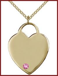 "1"" 14kt Gold Filled Heart, Your Choice of 3mm Swarovski Birthstone (Rose Displayed), your choice of chain, # 48375"