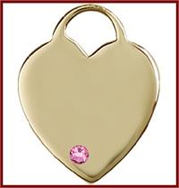 "1"" Solid 14kt Gold Heart, Your Choice of 3mm Swarovski Birthstone (Rose Displayed), Free Chain, # 48376"