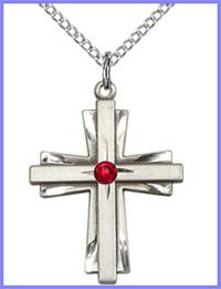 "1"" Sterling Silver Cross, Your Choice of 3mm Swarovski Birthstone (Ruby Displayed), your choice of chain, # 48390"