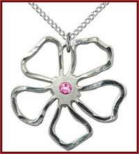 "1"" Sterling Silver Flower, Your Choice of 3mm Swarovski Birthstone (Rose Displayed), your choice of chain, # 48427"