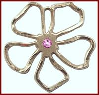 "1"" Solid 18kt Gold Flower, Your Choice of 3mm Swarovski Birthstone (Rose Displayed), Free Chain, # 48430"