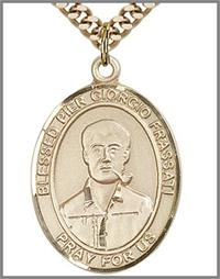 "Blessed Pier Giorgio Frassati Medal, 14kt Gold Filled, 1""x3/4"", 24"" Gold Plated Chain, # 48872"