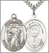 "Divine Mercy / Maria Faustina Medal, Sterling Silver, 1"", 24"" Silver-Tone Chain, # 48882"
