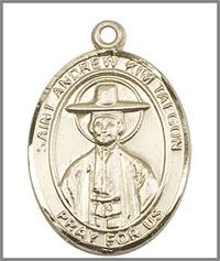 "St. Andrew Kim Taegon Medal, Solid 14kt Gold, 1""x3/4"", Free Chain, # 48981"