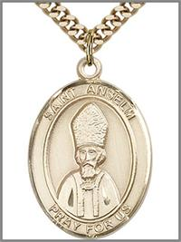 "St. Anselm Medal, 14kt Gold Filled, 1""x3/4"",  Your Choice of Chain, # 48998"