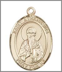 "St. Athanasius Medal, Solid 14kt Gold, 1""x3/4"", Free Chain, # 49016"