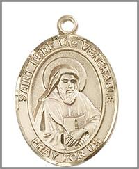 "St. Bede the Venerable Medal, Solid 18kt Gold, 1""x3/4"", Free Chain, # 49043"