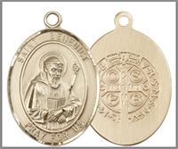 "St. Benedict Medal, Solid 18kt Gold, 1""x3/4"", Free Chain, # 49046"