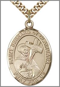 "St. Bernard of Clairvaux Medal, 14kt Gold Filled, 1""x3/4"",  Your Choice of Chain, # 49057"