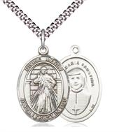 "Divine Mercy Maria Faustina Medal in Fine Pewter, 1"" tall, Your Choice of Chain, # 4917"
