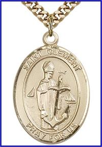 "St. Clement Medal, 14kt Gold Filled, 1""x3/4"", Your choice of chain, # 49237"