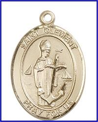 "St. Clement Medal, Solid 14kt Gold, 1""x3/4"", Free Chain, # 49238"