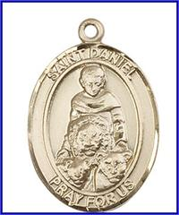 "St. Daniel Medal, Solid 14kt Gold, 1""x3/4"", Free Chain, # 49255"