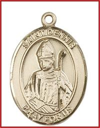 "St. Dennis Medal, Solid 14kt Gold, 1""x3/4"", Free Chain, # 49270"