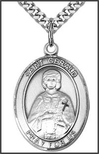 "St. Gerald Medal, Sterling Silver, 1""x3/4"", Your choice of chain, # 49325"