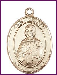 "St. Gerald Medal, Solid 14kt Gold, 1""x3/4"", Free Chain, # 49327"