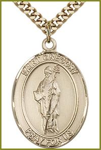 "St. Gregory the Great Medal, 14kt Gold Filled, 1""x3/4"", Your choice of chain, # 49350"