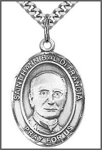 "St. Hannibal di Francia Medal, Sterling Silver, 1""x3/4"", Your choice of chain, # 49353"