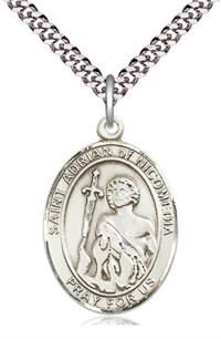 "St. Adrian of Nicomedia Medal in Fine Pewter, 1"" tall, Your Choice of Chain, # 4942"
