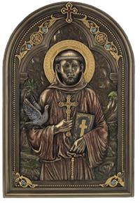 "6""x9"" St. Francis Plaque, Stands or Hangs, Cold Cast Bronze, # 49433"