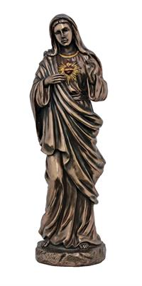 "11"" Immaculate Heart of Mary Statue, Cold Cast Bronze, Lightly Hand Painted, # 49438"