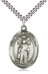 "St. Ivo of Kermartin Medal in Fine Pewter, 1"" tall, Your Choice of Chain, # 5286"