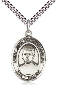 "1""x3/4"" Sterling Silver Saint Jose Luis Sanchez del Rio Medal, Your Choice of Chain, # 54024"
