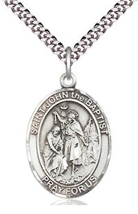 "St. John the Baptist Medal in Fine Pewter, 1"" tall, Your Choice of Chain, # 5353"