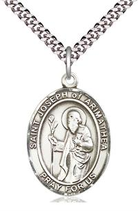 "St. Joseph of Arimathea Medal in Fine Pewter, 1"" tall, Your Choice of Chain, # 5371"