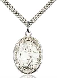 "1""x3/4"" Sterling Silver St. Jeanne Chezard Medal, Your Choice of Chain, # 54053"