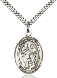 "1""x3/4"" Sterling Silver St. Joachim Medal, Your Choice of Chain, # 54064"