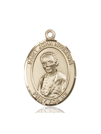 "St. John Neumann Medal, Solid 14kt Gold, 1""x3/4"", Free Chain, # 54091"