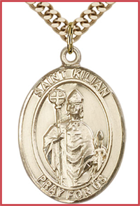 "St. Kilian Medal, Solid 18kt Gold, 1""x3/4"", Free Chain, # 54184"