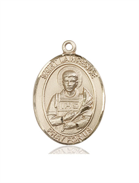 "St. Lawrence Medal, Solid 18kt Gold, 1""x3/4"", Free Chain, # 54187"