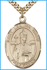 "St. Leo the Great Medal, Solid 18kt Gold, 1""x3/4"", Free Chain, # 54193"