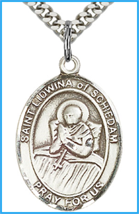 "1""x3/4"" Sterling Silver St. Lidwina of Schiedam Medal, Your Choice of Chain, # 54194"