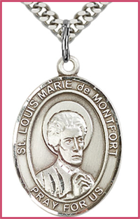 "1""x3/4"" Sterling Silver St. Louis Marie de Montfort Medal, Your Choice of Chain, # 54205"