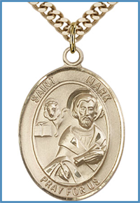 "14kt Gold Filled Medal, 1""x3/4"", St. Mark the Evangelist, Your Choice of Chain, # 54282"