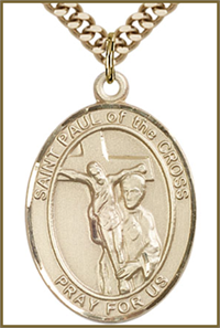 "14kt Gold Filled Medal, 1""x3/4"", St. Paul of the Cross, Your Choice of Chain, # 54352"