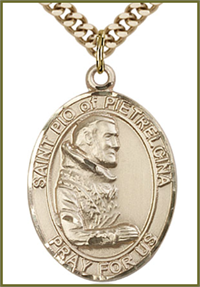 "Solid 18kt Gold Medal, 1""x3/4"", St. Pio of Pietrelcina, Free Chain, # 54394"