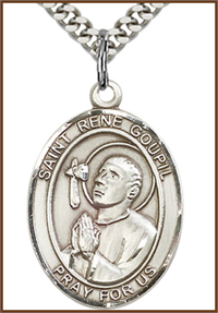 "Sterling Silver Medal, 1""x3/4"", St. Rene Goupil, Your Choice of Chain, # 54439"
