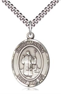 "St. Maron Medal in Fine Pewter, 1"" tall, Your Choice of Chain, # 5449"