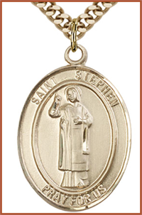 "Solid 18kt Gold Medal, 1""x3/4"", St. Stephen the Martyr, Free Chain, # 54511"