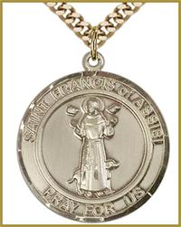 "1"" Round Solid 18kt Gold Medal, St. Francis of Assisi, Free Chain, # 54617"