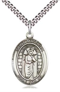 "St. Matthias the Apostle Medal in Fine Pewter, 1"" tall, Your Choice of Chain, # 5477"