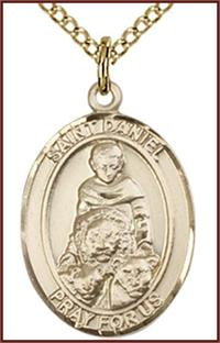 "Solid 14kt Gold Medal, 3/4""x9/16"", St. Daniel, Free Chain, # 55019"
