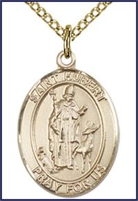 "14kt Gold Filled Medal, 3/4""x9/16"", St. Hubert of Liege, Your choice of chain, # 55175"