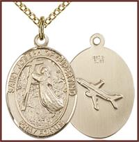 "Solid 18kt Gold Medal, 3/4""x9/16"", St. Joseph of Cupertino, Free Chain, # 55361"