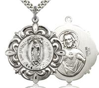 "1-1/8"" Ornate O.L. Of Guadalupe Sterling Medal, Your Choice of Chain # 5537"